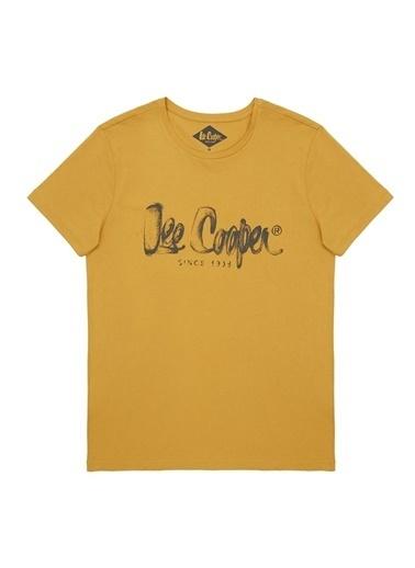 Lee Cooper Lee Cooper Erkek Koyu Sarı Bisiklet Yaka T-Shirt Sarı